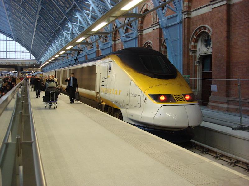 Eurostar na St. Pancras- trem na Europa